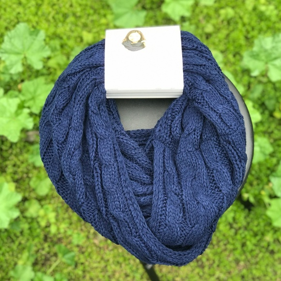Serra Accessories Ladies Navy Cable Knit Infinity Scarf Poshmark